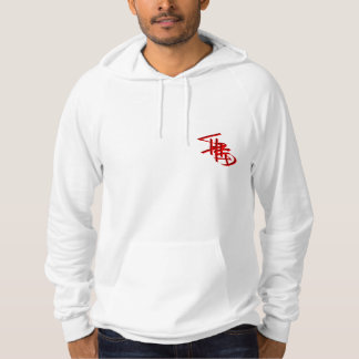 shred3 logo red on hoodie