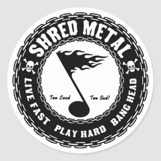 Shred Metal Classic Round Sticker
