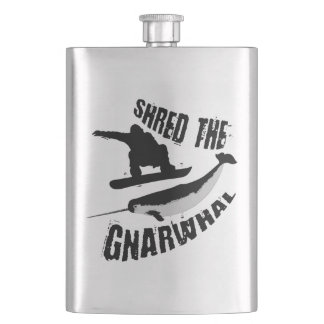 Shred The Gnarwhal Flask