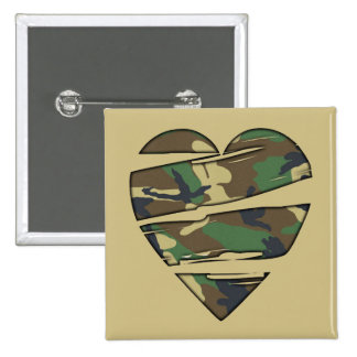 Shredded Camo Heart Pinback Buttons