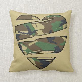 Shredded Camo Heart Pillow