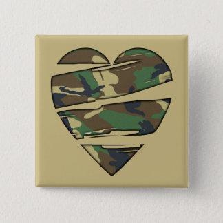 Shredded Camo Heart Pinback Button