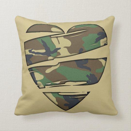 Shredded Camo Heart Throw Pillow