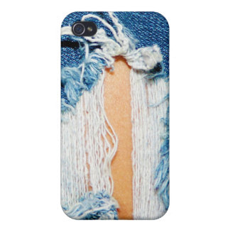 Shredded Threads - Ripped Blue Jeans Cover For iPhone 4