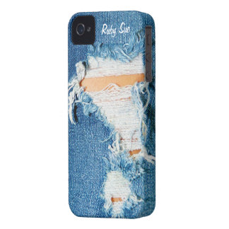 Shredded Threads - Ripped Denim Blue Jeans iPhone 4 Cover