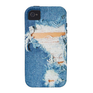 Shredded Threads - Ripped Denim Blue Jeans iPhone 4 Cases