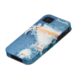 Shredded Threads - Ripped Denim Blue Jeans iPhone 4/4S Cover