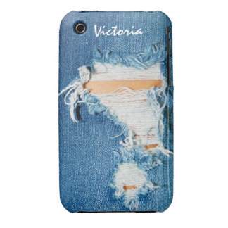 Shredded Threads - Ripped Denim Blue Jeans iPhone 3 Case-Mate Cases