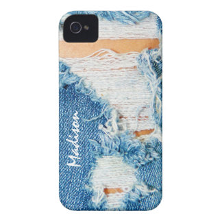 Shredded Threads - Ripped Denim Blue Jeans iPhone 4 Case-Mate Case