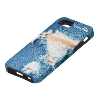 Shredded Threads - Ripped Denim Blue Jeans iPhone 5 Cover