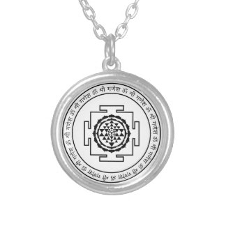 Shree Yantra Silver Plated Necklace