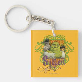 Shrek Group Crest Double-Sided Square Acrylic Keychain