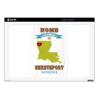 Shreveport, Louisiana Map – Home Is Where The Hear Decal For Laptop