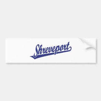 Shreveport script logo in blue bumper sticker