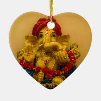Shri Ganesh Double-Sided Heart Ceramic Christmas Ornament