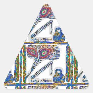 Shri KRISHNA: FLAUTA, pluma del pavo real, Makhan Colcomanias Triangulo
