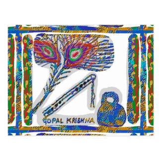 Shri KRISHNA : FLUTE, Peacock Feather, Makhan Postcard