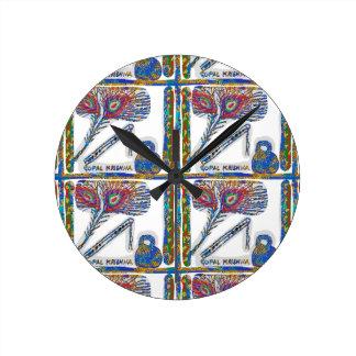Shri KRISHNA : FLUTE, Peacock Feather, Makhan Round Clock