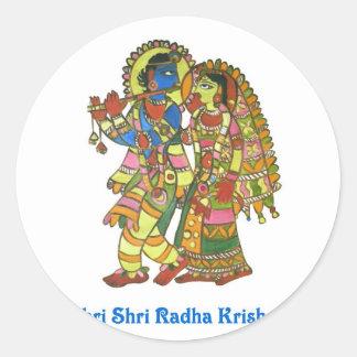Shri Shri Radha Krishna Etiqueta Redonda