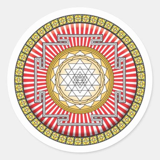 Shri Yantra Icon Round Sticker