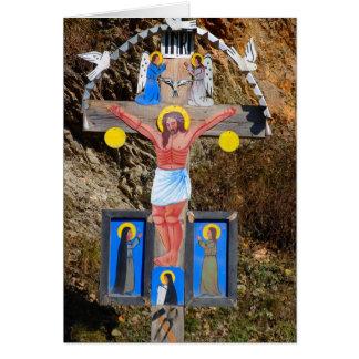 Shriine cristiano del borde del camino, el tarjeta de felicitación