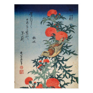 Shrike and Thistle (by Hokusai) Post Card