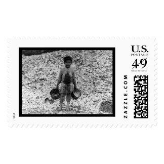 Shrimp and Oyster Boy Worker 1911 Stamp