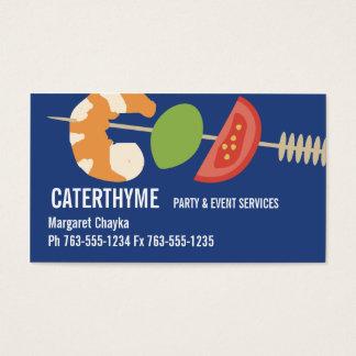 Shrimp appetizer kebab catering business cards