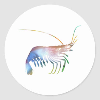 Shrimp art classic round sticker