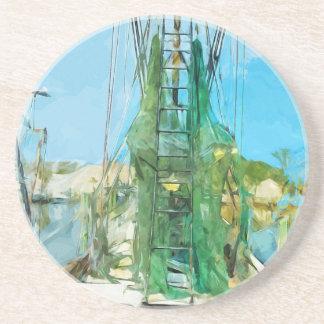 Shrimp Boat Docked Abstract Impressionism Coaster