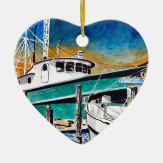 Shrimp Boat nautical art Ceramic Ornament