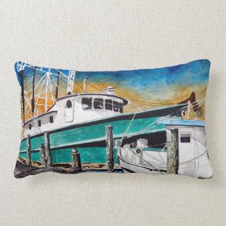 Shrimp Boat nautical art Throw Pillow