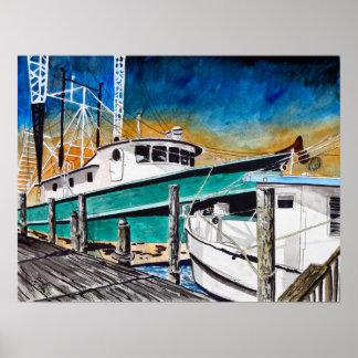 shrimp boat nautical marine art poster