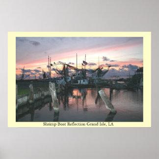 Shrimp Boat Reflection, Grand Isle LA Poster