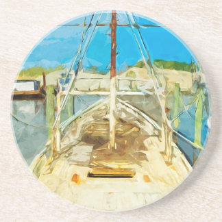 Shrimp Boat Under Repair Abstract Impressionism Drink Coasters
