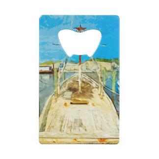 Shrimp Boat Under Repair Abstract Impressionism Wallet Bottle Opener