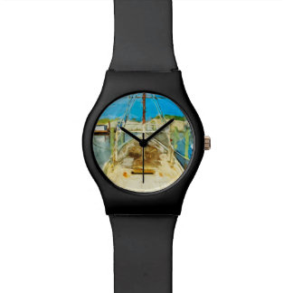 Shrimp Boat Under Repair Abstract Impressionism Wrist Watches