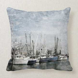 Shrimp Boats Art Throw Pillow