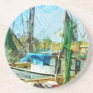 SHRIMP BOATS DOCKED Abstract Impressionist.jpg Coasters