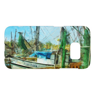 Shrimp Boats Docked Abstract Impressionist Samsung Galaxy S7 Case