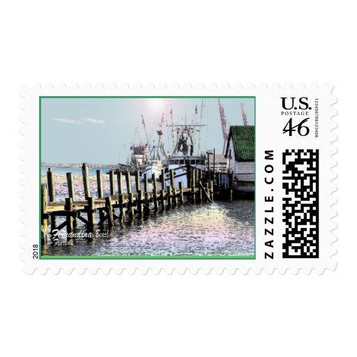 shrimp boats fernandina beach, florida postage stamp