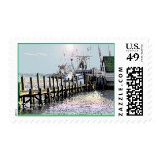 shrimp boats fernandina beach, florida stamp