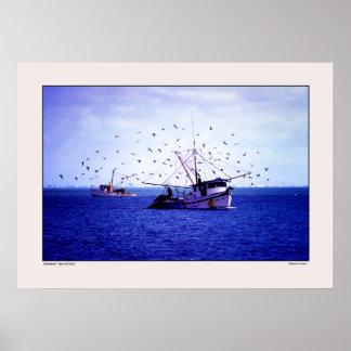 Shrimp Boats Texas Gulf Poster