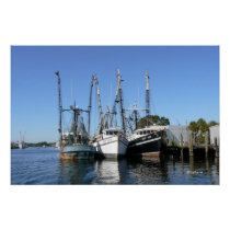 Shrimp Boats Wait at the Dock Poster