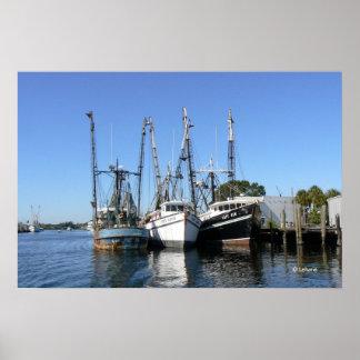 Shrimp Boats Wait at the Dock Poster