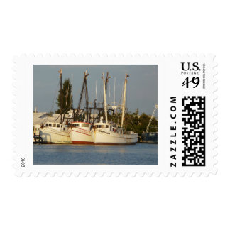 Shrimp Boats x three Postage Stamps