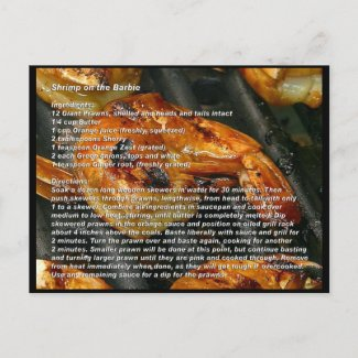 Shrimp on the Barbie Recipe Card Post Cards