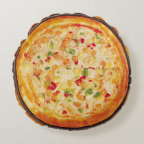 Shrimp Pizza Round Pillow