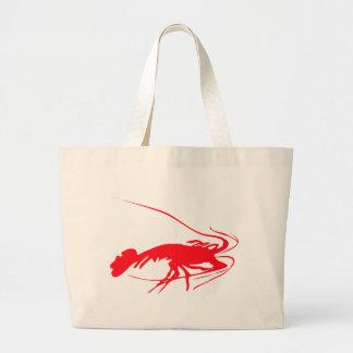 shrimp silhouette image large tote bag