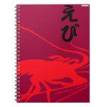 shrimp silhouette spiral notebooks